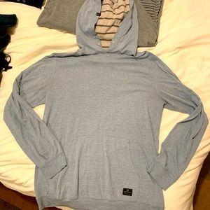 Quicksilver men's lightweight hoodie in light blue